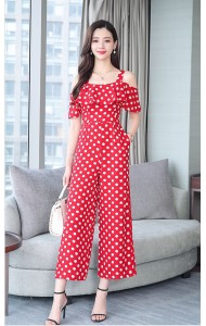 KJP05253458Y Plus size dotted off shoulder jumpsuit REAL PHOTO