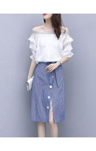 KST05310109Q Split skirt with off shoulder blouse set REAL PHOTO
