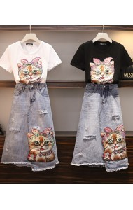 KST05318038D Cat sequin denim skirt set REAL PHOTO