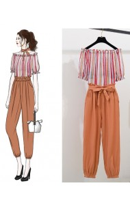 KST060903118M Stripes off shoulder pant set REAL PHOTO
