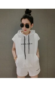 KST06092515A White hoodie sport set REAL PHOTO