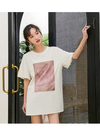 KTP06129508X Oversize printed articifial silk t shirt REAL PHOTO