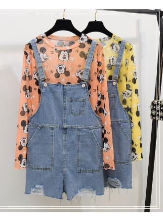 KST06135618Z Mickey denim jumpsuit set REAL PHOTO