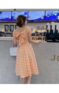 KDS06130675K Checker back bow dress REAL PHOTO