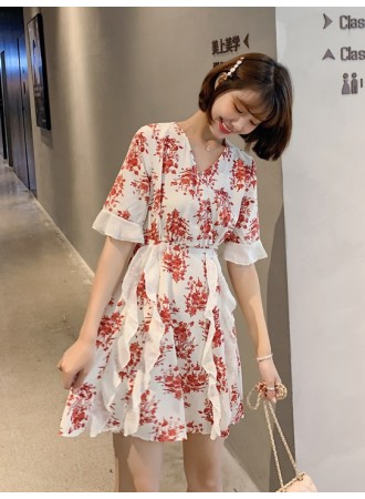 KDS06146775K Flower ruffle mini dress REAL PHOTO