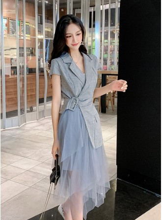 KDS06143309X Chic tulle coat dress REAL PHOTO