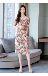KDS06155207Y Overlapping split floral dress REAL PHOTO