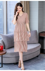 KDS06151607Y Polka V neck layer dress REAL PHOTO