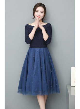 KDS0615706R Denim off shoulder tulle dress REAL PHOTO