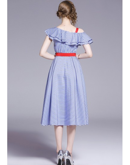 BDS0616963T Off shoulder stripes ruffle dress REAL PHOTO