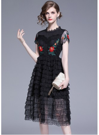 BDS0616968X Embroidery mesh sleeves tiered dress REAL PHOTO