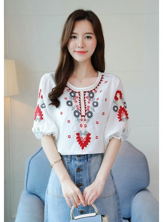KTP06173181J Embroidery trumpet sleeves blouse REAL PHOTO