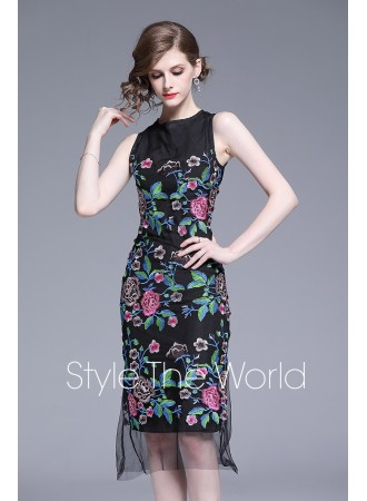 KDS0617668J Embroidery bodycon lace dress REAL PHOTO