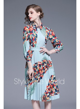 BDS0617588X Pleated printed dress REAL PHOTO