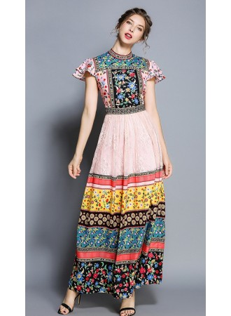 BDS06179145X Ethnic printed lace dress REAL PHOTO