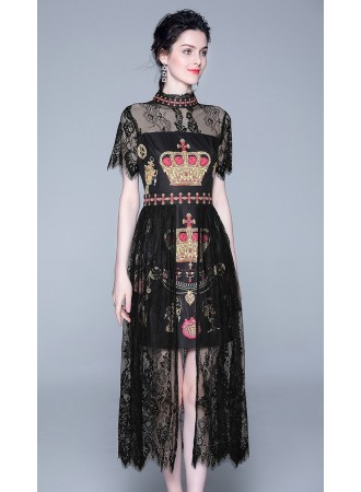BDS06188319H Crown print layer lace dress REAL PHOTO