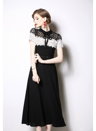 BDS06189079H Hollow back crochet flared dress REAL PHOTO