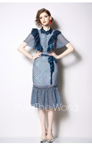 BDS06181179H Ruffle mermaid checker dress REAL PHOTO