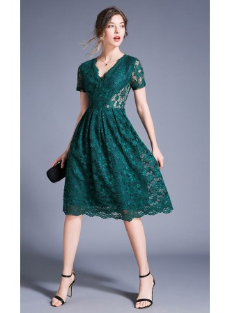 BDS06180178Y V neck full lace midi dress REAL PHOTO