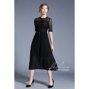 BDS06192068Y Hollow lace black dress REAL PHOTO