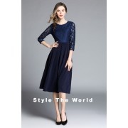 BDS06191038Y Hallow sleeves lace flared dress REAL PHOTO