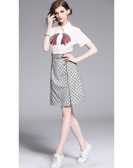 BDS0619168Y Embroidery logo bow dress REAL PHOTO