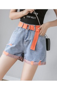KPT06208589L High waisted belted short jeans REAL PHOTO