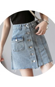 KSK06206028L High waisted A line denim skirt REAL PHOTO