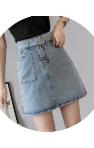 KSK0620902L High waisted A line belted denim skirt REAL PHOTO