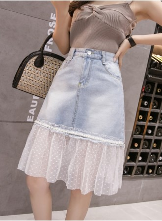 KSK06219155Y Lace denim skirt REAL PHOTO