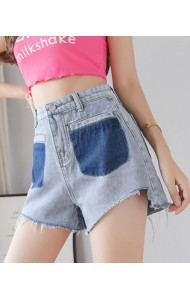 KPT0621188AS High waisted fake pocket short jeans REAL PHOTO