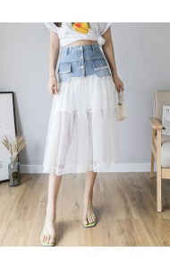 KSK06229218P Tulle denim midi skirt REAL PHOTO