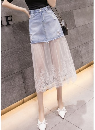 KSK06221788Y Tulle denim midi skirt REAL PHOTO