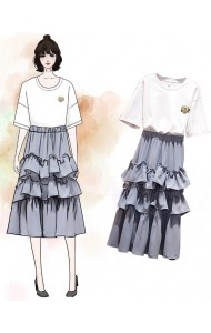 KST06293038X Plus size tiered skirt set REAL PHOTO