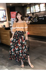 KST07017791H Off shoulder floral skirt set REAL PHOTO
