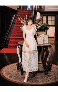 KST07016909Y Lace sleeves skirt set REAL PHOTO