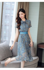 KDS07018299H Floral pleated bow dress with belt REAL PHOTO