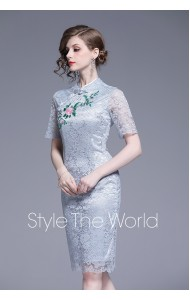 BDS0704868X Full lace embroidery cheongsum REAL PHOTO