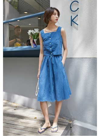 KST07041712S Soft jeans 2 pc skirt set REAL PHOTO