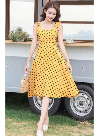 KDS07055728Y Polka dot ruffle sleeves skater dress REAL PHOTO