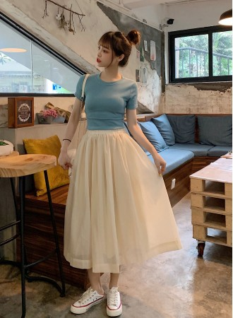 KST07063691R Back bow top tulle skirt 2 pc set L PHOTO