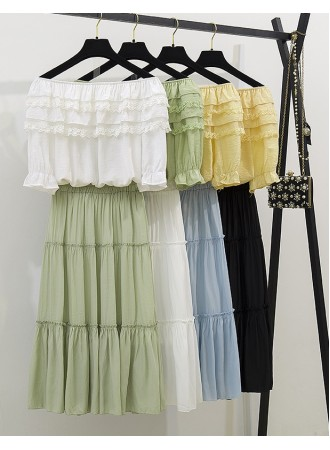 KST07074038X Off shoulder linen skirt 2 pc set L PHOTO
