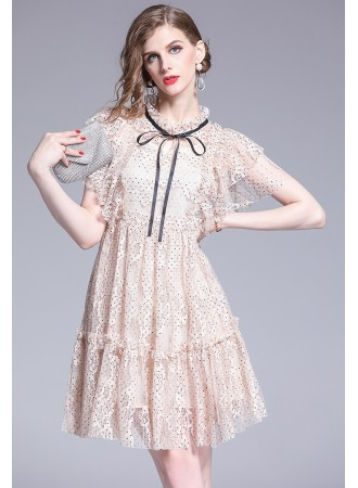 BDS07077068A Polka ruffle sleeves full lace dress REAL PHOTO