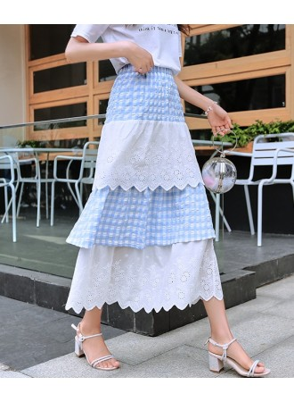 KSK07081019B Lace checker layer skirt REAL PHOTO