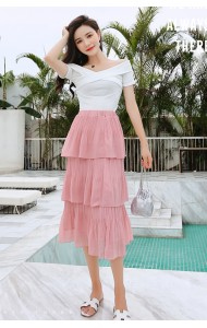 KSK07084109B Pleated layer skirt REAL PHOTO