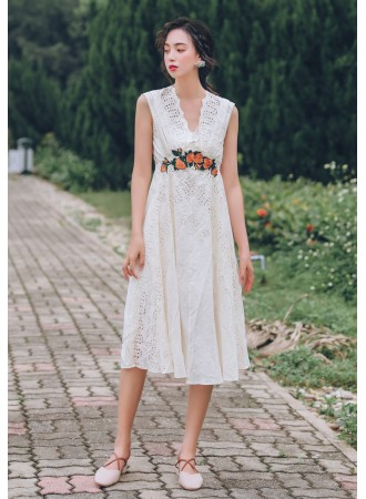KDS07091809B V back crochet eyelet embroidery dress REAL PHOTO