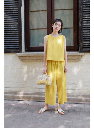 KST07092179Y Linen drawstring pants set REAL PHOTO
