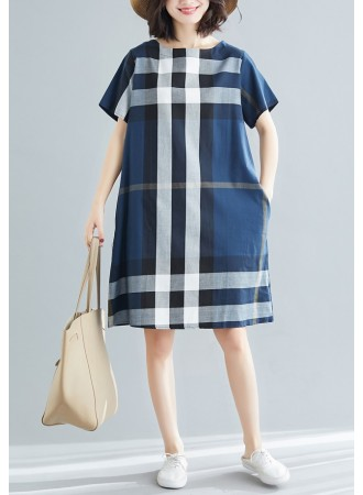 KDS0710431W Checker plus size A line dress REAL PHOTO