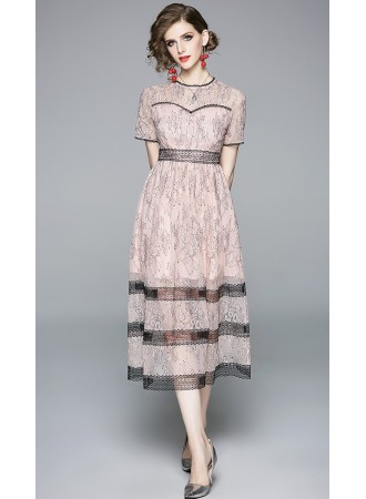 BDS07111098X Full lace dress in pink REAL PHOTO