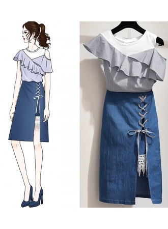 KST07117119X Plus size off shoulder denim skirt set REAL PHOTO